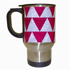 Triangle2 White Marble & Pink Leather Travel Mugs (white) by trendistuff