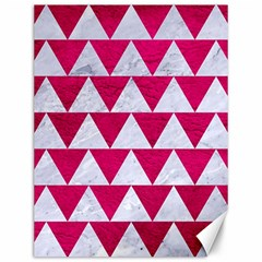 Triangle2 White Marble & Pink Leather Canvas 12  X 16   by trendistuff
