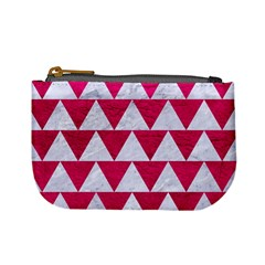 Triangle2 White Marble & Pink Leather Mini Coin Purses by trendistuff