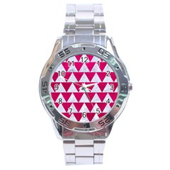 Triangle2 White Marble & Pink Leather Stainless Steel Analogue Watch