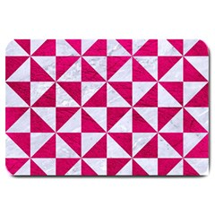 Triangle1 White Marble & Pink Leather Large Doormat  by trendistuff