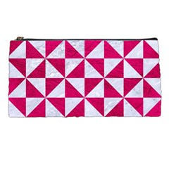 Triangle1 White Marble & Pink Leather Pencil Cases by trendistuff