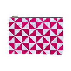 Triangle1 White Marble & Pink Leather Cosmetic Bag (large)  by trendistuff