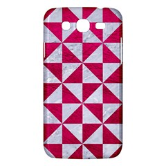 Triangle1 White Marble & Pink Leather Samsung Galaxy Mega 5 8 I9152 Hardshell Case  by trendistuff