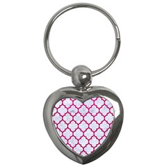 Tile1 White Marble & Pink Leather (r) Key Chains (heart)  by trendistuff