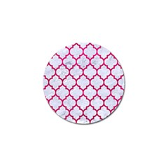 Tile1 White Marble & Pink Leather (r) Golf Ball Marker by trendistuff