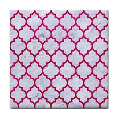 Tile1 White Marble & Pink Leather (r) Face Towel by trendistuff