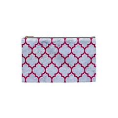 Tile1 White Marble & Pink Leather (r) Cosmetic Bag (small)  by trendistuff