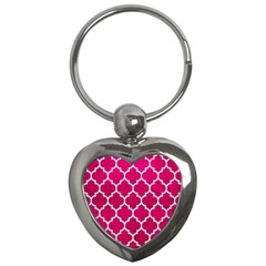 Tile1 White Marble & Pink Leather Key Chains (heart)  by trendistuff