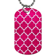 Tile1 White Marble & Pink Leather Dog Tag (two Sides)