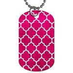 TILE1 WHITE MARBLE & PINK LEATHER Dog Tag (Two Sides) Front