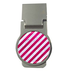 Stripes3 White Marble & Pink Leather (r) Money Clips (round)  by trendistuff