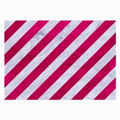 Stripes3 White Marble & Pink Leather (r) Large Glasses Cloth by trendistuff
