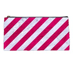 Stripes3 White Marble & Pink Leather (r) Pencil Cases by trendistuff