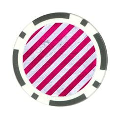 Stripes3 White Marble & Pink Leather (r) Poker Chip Card Guard (10 Pack) by trendistuff