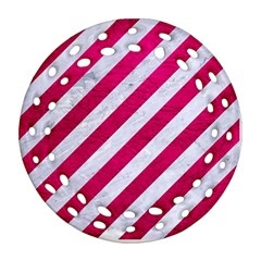 Stripes3 White Marble & Pink Leather (r) Ornament (round Filigree) by trendistuff