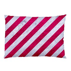 Stripes3 White Marble & Pink Leather (r) Pillow Case (two Sides) by trendistuff