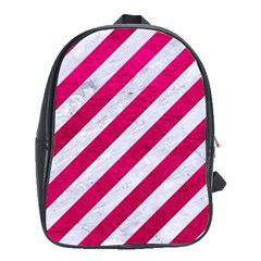 Stripes3 White Marble & Pink Leather (r) School Bag (xl) by trendistuff
