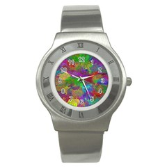Colorful Patern Art Rainbow Stainless Steel Watch