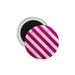 Stripes3 White Marble & Pink Leather 1 75  Magnets by trendistuff