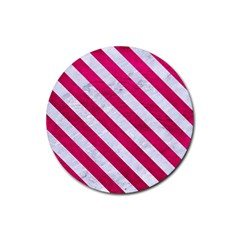 Stripes3 White Marble & Pink Leather Rubber Coaster (round)  by trendistuff