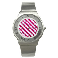Stripes3 White Marble & Pink Leather Stainless Steel Watch by trendistuff