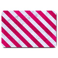 Stripes3 White Marble & Pink Leather Large Doormat  by trendistuff