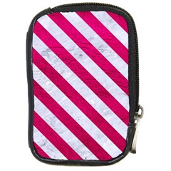 Stripes3 White Marble & Pink Leather Compact Camera Cases by trendistuff