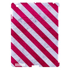 Stripes3 White Marble & Pink Leather Apple Ipad 3/4 Hardshell Case (compatible With Smart Cover) by trendistuff