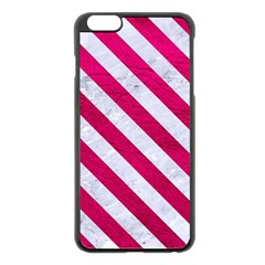 Stripes3 White Marble & Pink Leather Apple Iphone 6 Plus/6s Plus Black Enamel Case by trendistuff