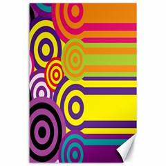Retro Circles And Stripes 60s Canvas 24  X 36  by goodart