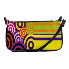 Retro Circles And Stripes 60s Shoulder Clutch Bags by goodart