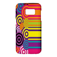 Retro Circles And Stripes 60s Samsung Galaxy S7 Hardshell Case  by goodart