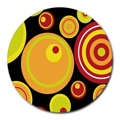 Retro Circles Background Yellow Round Mousepads by goodart