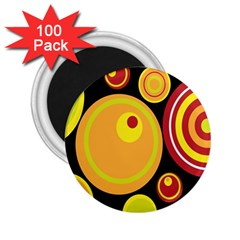 Retro Circles Background Yellow 2 25  Magnets (100 Pack)  by goodart