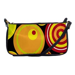 Retro Circles Background Yellow Shoulder Clutch Bags by goodart