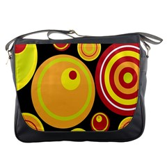Retro Circles Background Yellow Messenger Bags by goodart