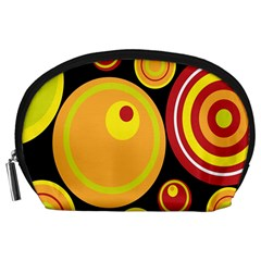 Retro Circles Background Yellow Accessory Pouches (large)  by goodart