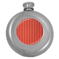 Retro Pattern Texture Fabric Art Material Graphic Textile Round Hip Flask (5 Oz) by goodart