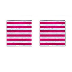 Stripes2white Marble & Pink Leather Cufflinks (square) by trendistuff