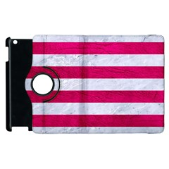 Stripes2white Marble & Pink Leather Apple Ipad 3/4 Flip 360 Case by trendistuff