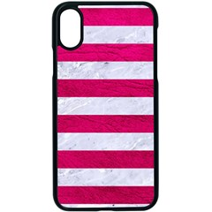 Stripes2white Marble & Pink Leather Apple Iphone X Seamless Case (black)