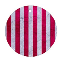 Stripes1 White Marble & Pink Leather Ornament (round) by trendistuff