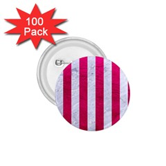 Stripes1 White Marble & Pink Leather 1 75  Buttons (100 Pack)  by trendistuff