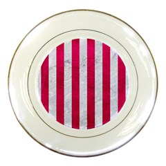 Stripes1 White Marble & Pink Leather Porcelain Plates by trendistuff