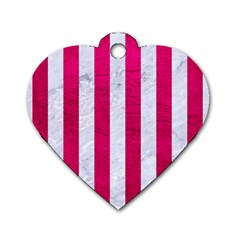 Stripes1 White Marble & Pink Leather Dog Tag Heart (one Side) by trendistuff