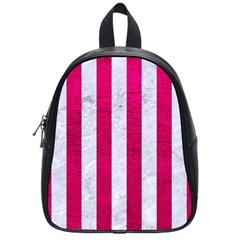 Stripes1 White Marble & Pink Leather School Bag (small) by trendistuff