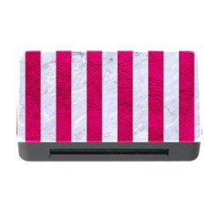 Stripes1 White Marble & Pink Leather Memory Card Reader With Cf by trendistuff