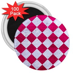 Square2 White Marble & Pink Leather 3  Magnets (100 Pack) by trendistuff