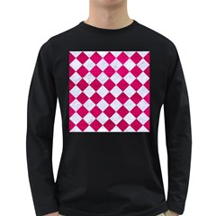 Square2 White Marble & Pink Leather Long Sleeve Dark T Shirts